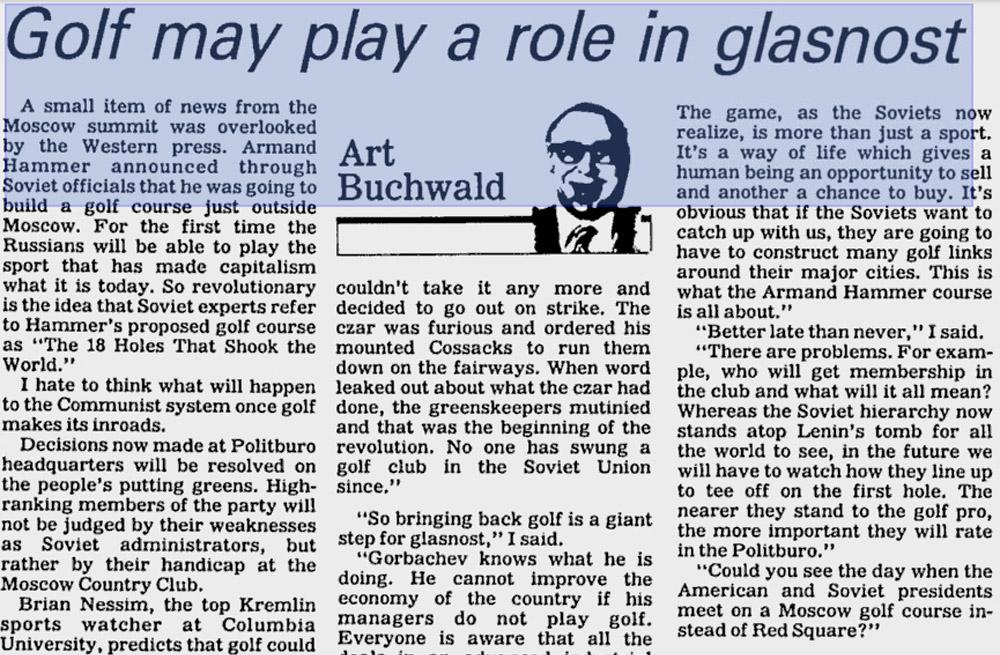 Kolumneistaan tunnettu Art Buchwald tarttui golfin ja glasnostin väliseen suhteeseen 1980-luvulla.