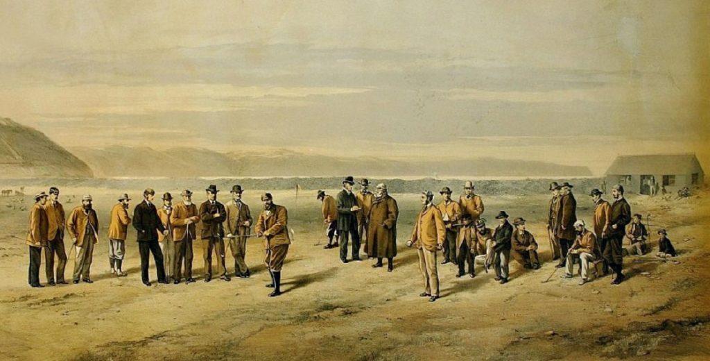 Golfin harrastajia Westward Ho!:ssa vuonna 1875.